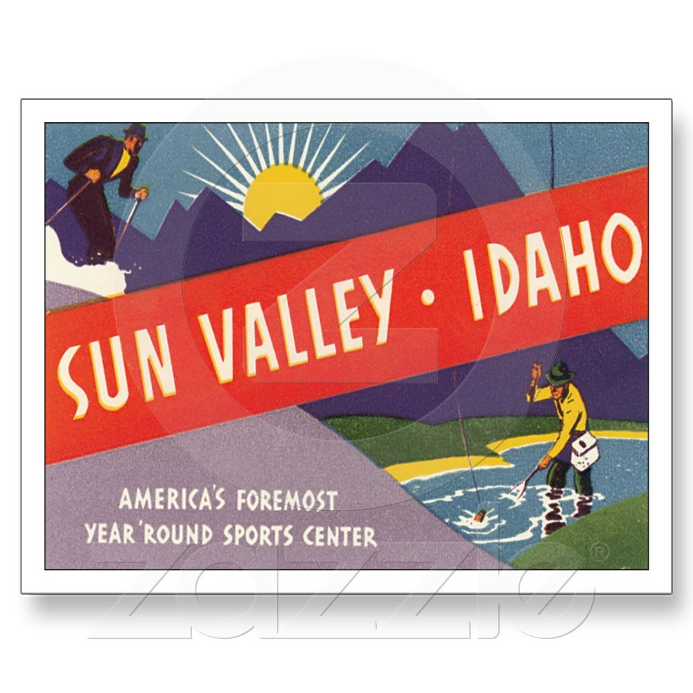 Vintage Sun Valley Idaho ID Travel Poster Art Post Card from Zazzle.com