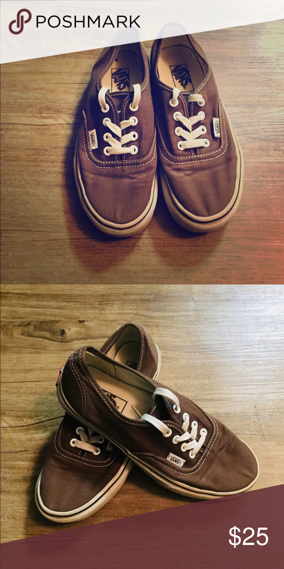 b05f1dbdff9ad2 Brown Classic Vans Brown classic lace up vans with white laces Vans Shoes  Sneakers