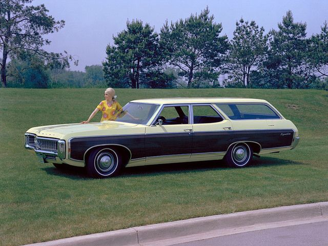 1969 Chevrolet Kingswood Estate Station Wagon With Hubcaps From