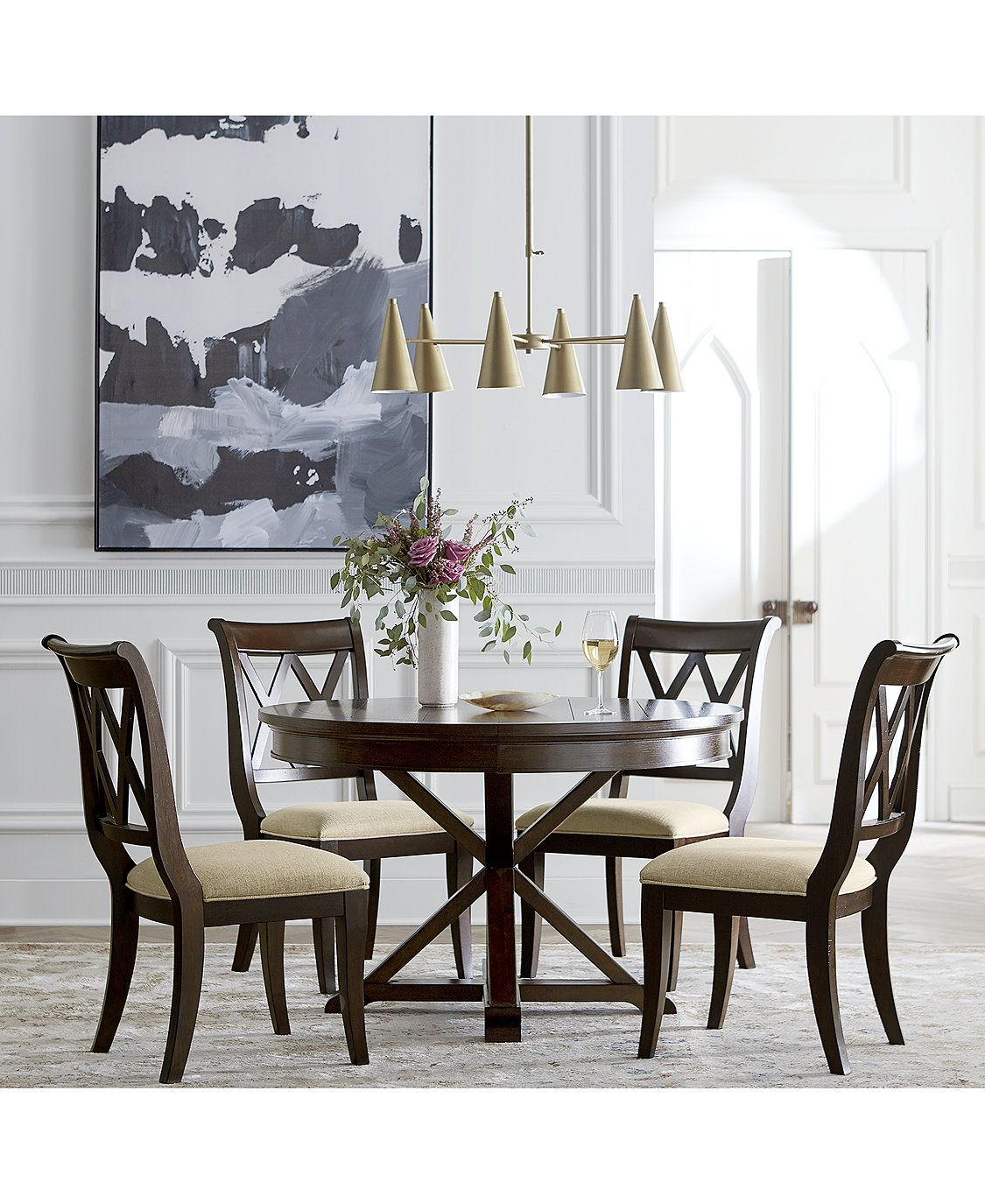Furniture Baker Street Round Expandable Dining Furniture, 9 Pc ...