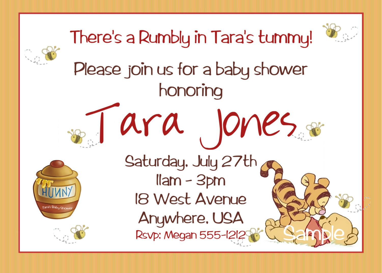 Winnie the Pooh Baby Shower Invitations, Printable Photo Card ...