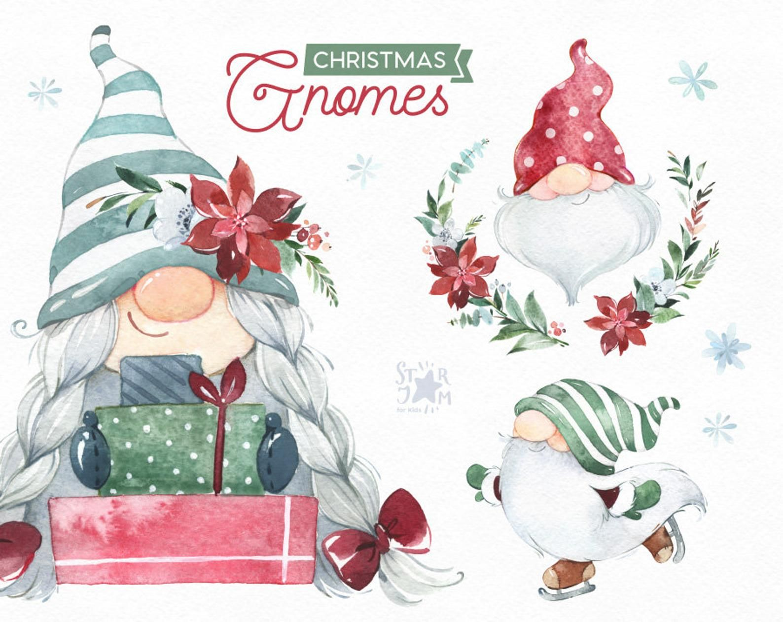 Christmas Gnomes 2 Watercolor Clipart Nordic Scandinavian Etsy In 2020 Christmas Watercolor Christmas Gnome Watercolor Clipart