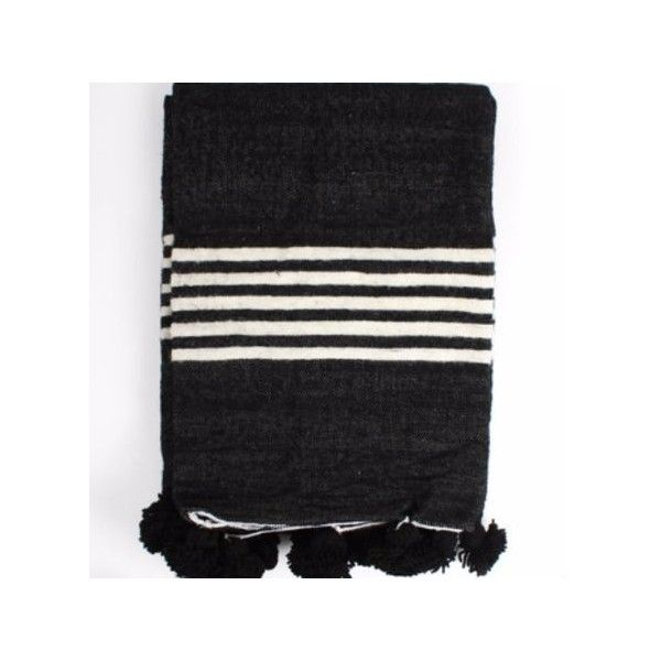 Holly's House Black Wool Pom Pom Blanket featuring polyvore, home, bed & bath, bedding, blankets, wool bedding, black blanket, handmade wool blanket, handmade blankets and wool blanket
