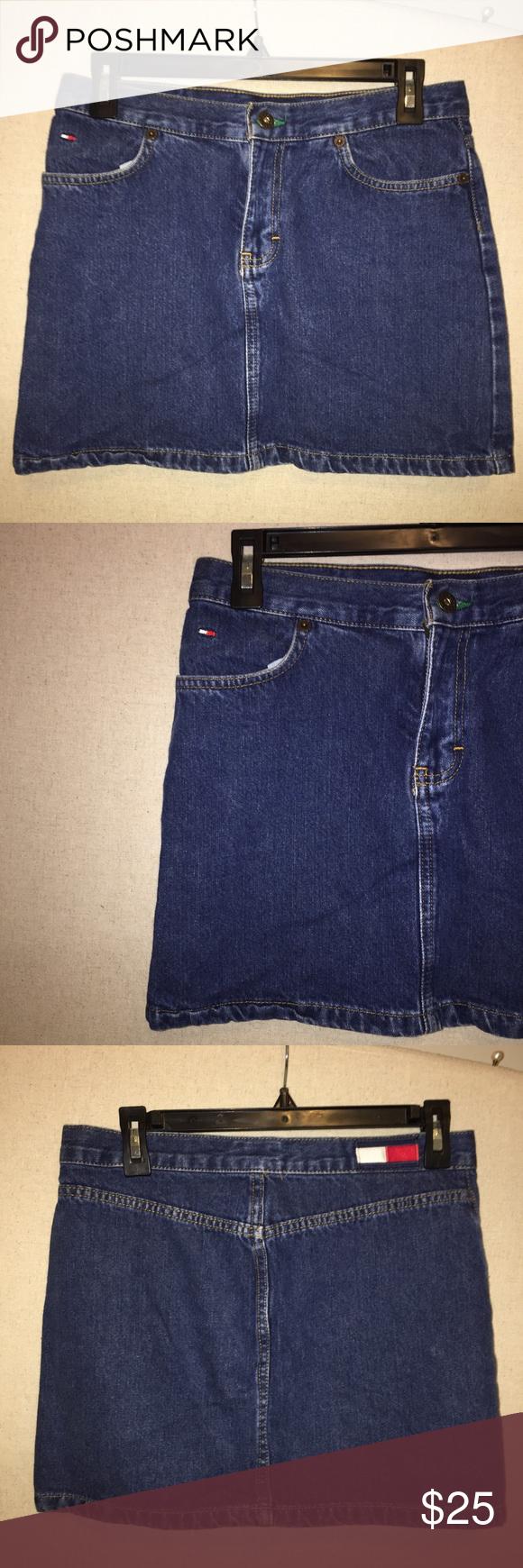 90's Tommy Hilfiger Denim Skirt 10/10 condition, dark denim wash, clean, super cool 90s style 🦋 Tommy Hilfiger Skirts