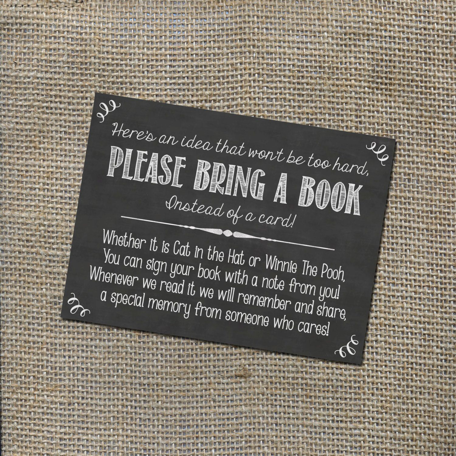 Please Bring a Book Instead of a Card Insert for by World Thought