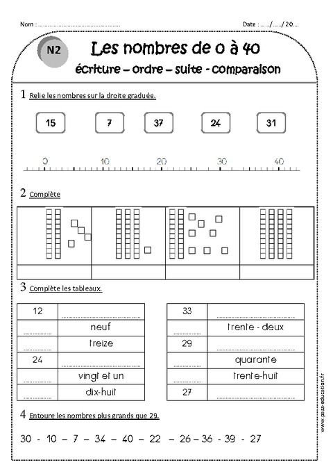 Nombres de 0 40 ce1 exercices criture ordre suite comparaison pass education - Calcul nombre de parpaing ...