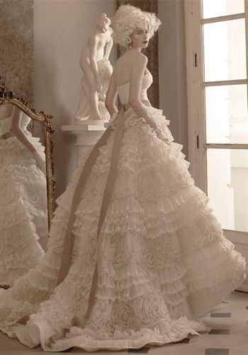 strapless, full ballroom skirt with lacy ruffles  .... Victorian appeal