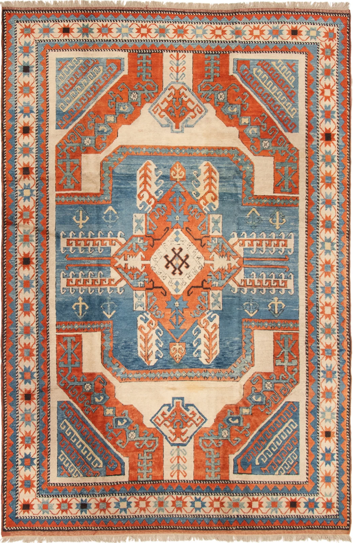 Jake 6 7 X 10 0 Vintage Turkish Orange And Blue Handmade Wool