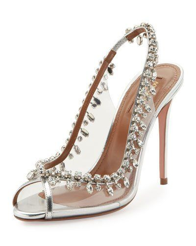 X3MKG Aquazzura Temptation Crystal Slingback Sandal, Silver | shoes  Aquazzura | Pinterest | Slingback sandal, Sandals and Crystals