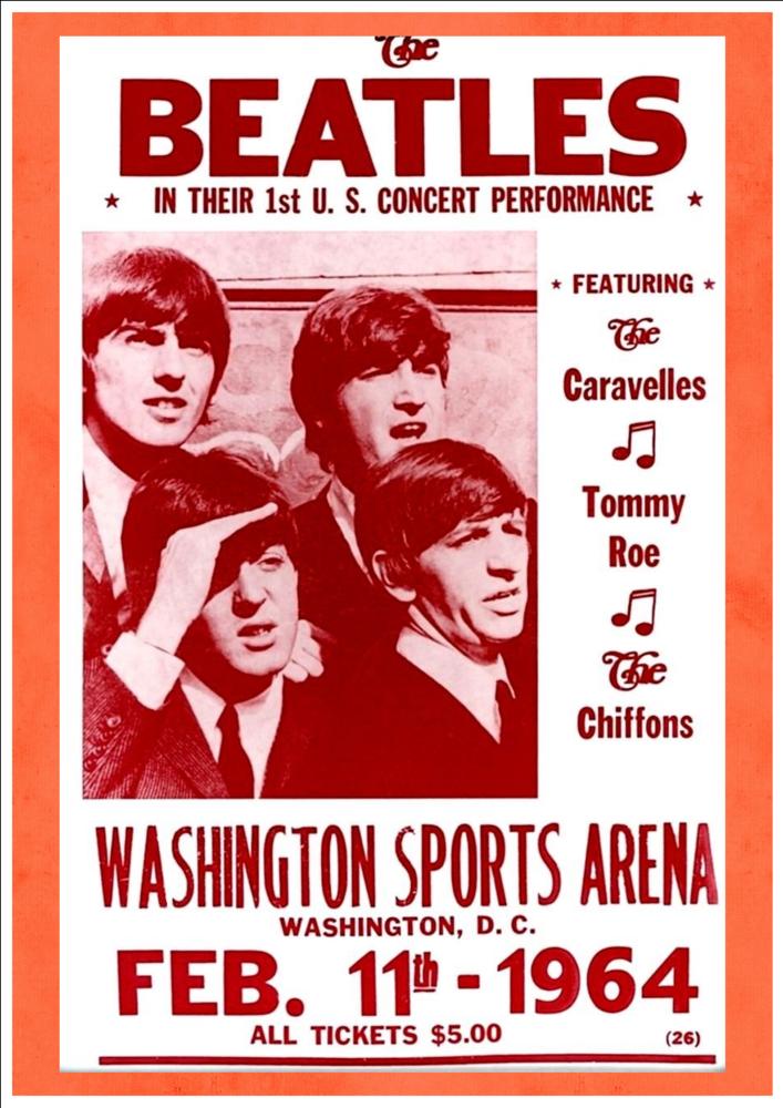 The Beatles - 1st U.S. Concert Performance, Washington Sports Arena, 1964 Art Print Taken From A Vintage Concert Poster