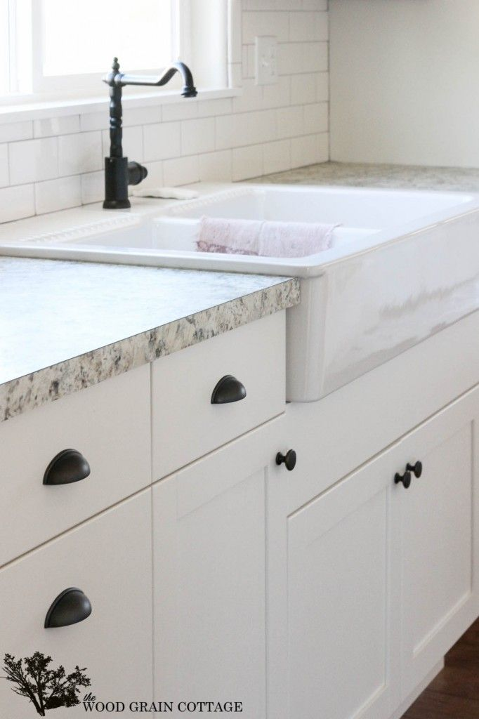 Fixer upper update cabinet hardware white cabinets for White kitchen cabinets black hardware