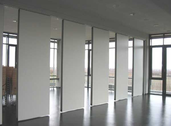 Sliding soundproof wall divider panels Open House learning