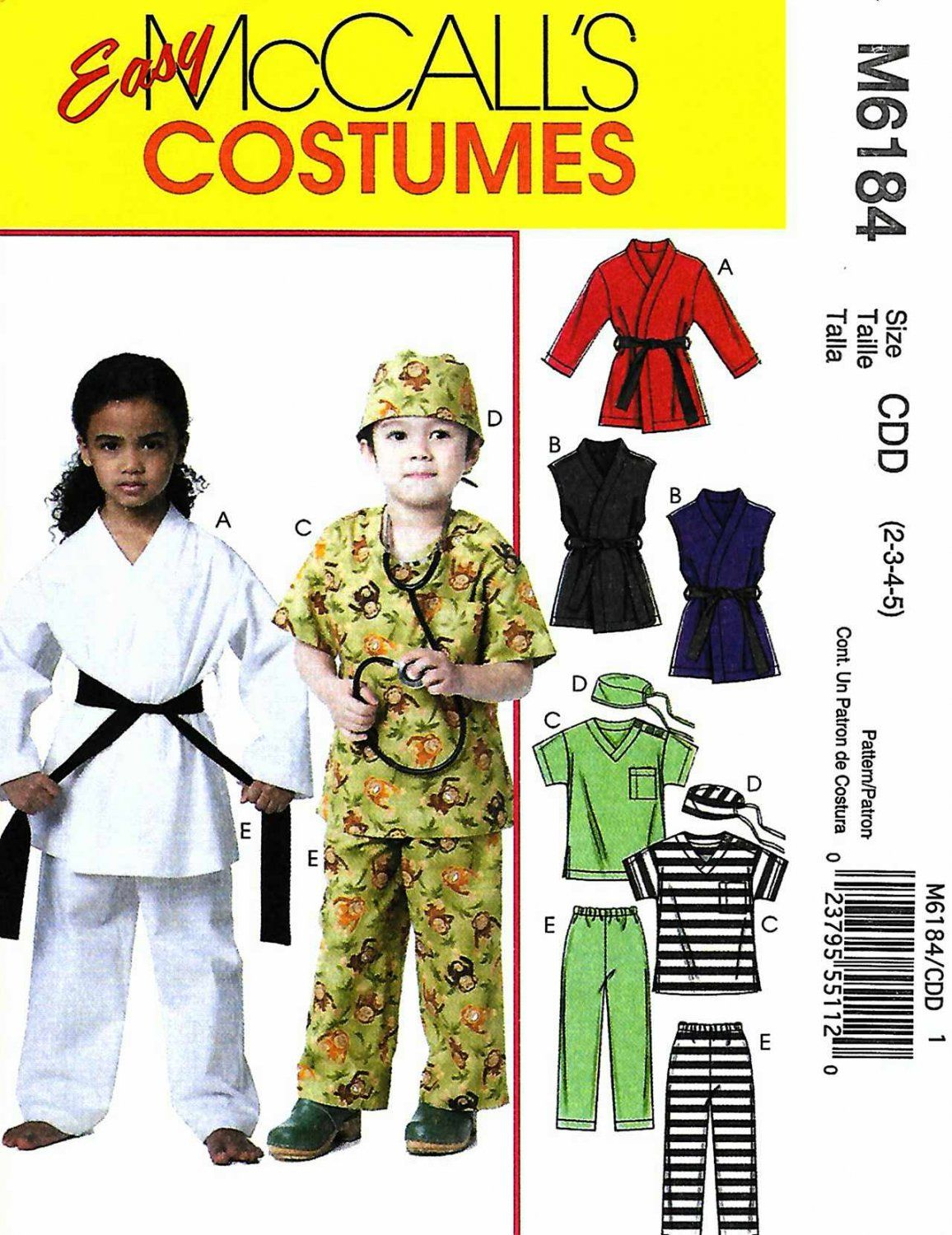 McCall\'s+Sewing+Pattern+6184+Boys+Girls+Size+6-8+Easy+Costumes+ ...