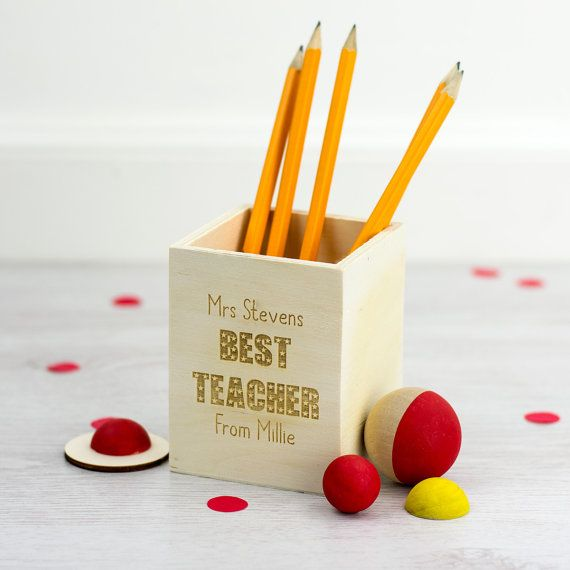 Pen Holder Best Teacher Gift Personalised Wooden Pen Pot