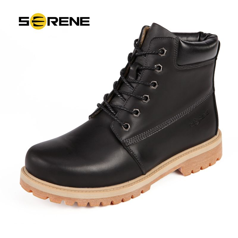 SERENE Brand Mens Boots 2016 Winter Casual Nubuck Leather Desert Boots High-Top Tooling Boots Lace Up Army Boots Mens Shoes 3257