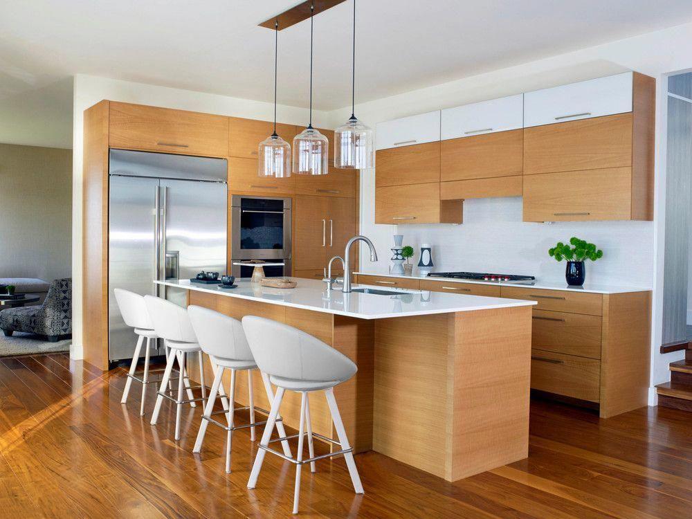 blonde wood kitchen cabinets . dark honey floors white ...