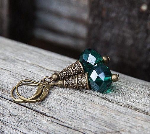 Smaragdová láska by gabi111 - SAShE.sk - Handmade Náušnice