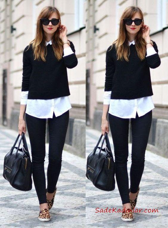 2020 Bayan Gömlek Kazak Kombinleri Siyah Skinny Pantolon Beyaz Gömlek Siyah Kazak Leopar Desenli Babet Ayakkabı #womensworkoutfits