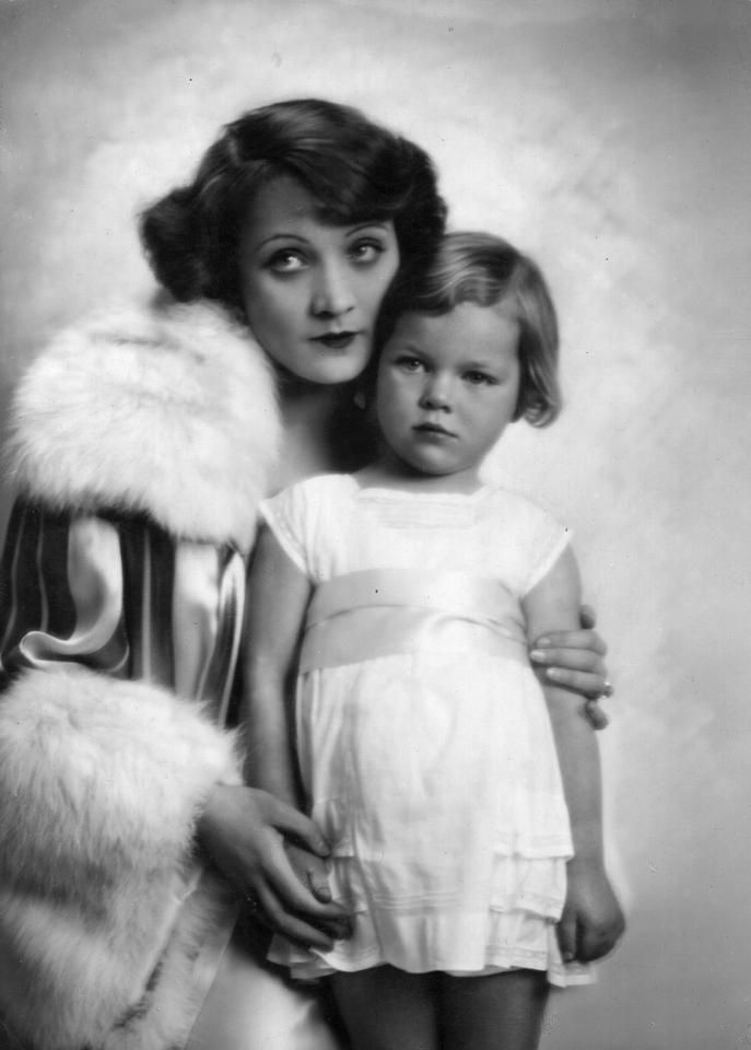 1929: Marlene Dietrich and young daughter Maria Sieber. (Photo by Ernst Schneider/General Photographic Agency/Getty Images)