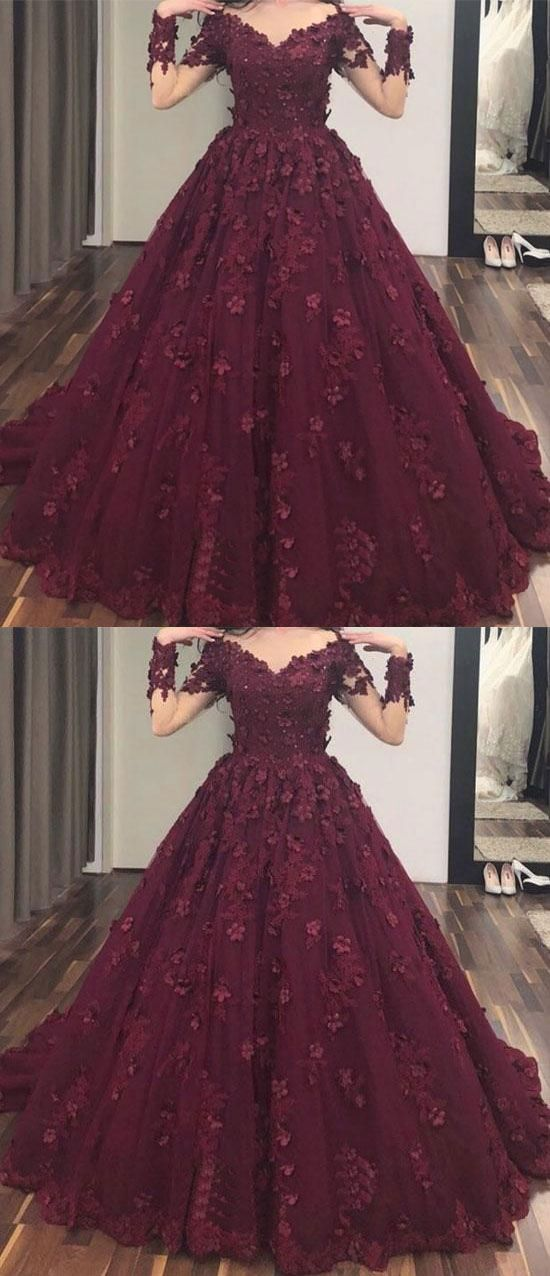 Elegant Long Sleeves V Neck Prom Dresses with Handmade Flowers