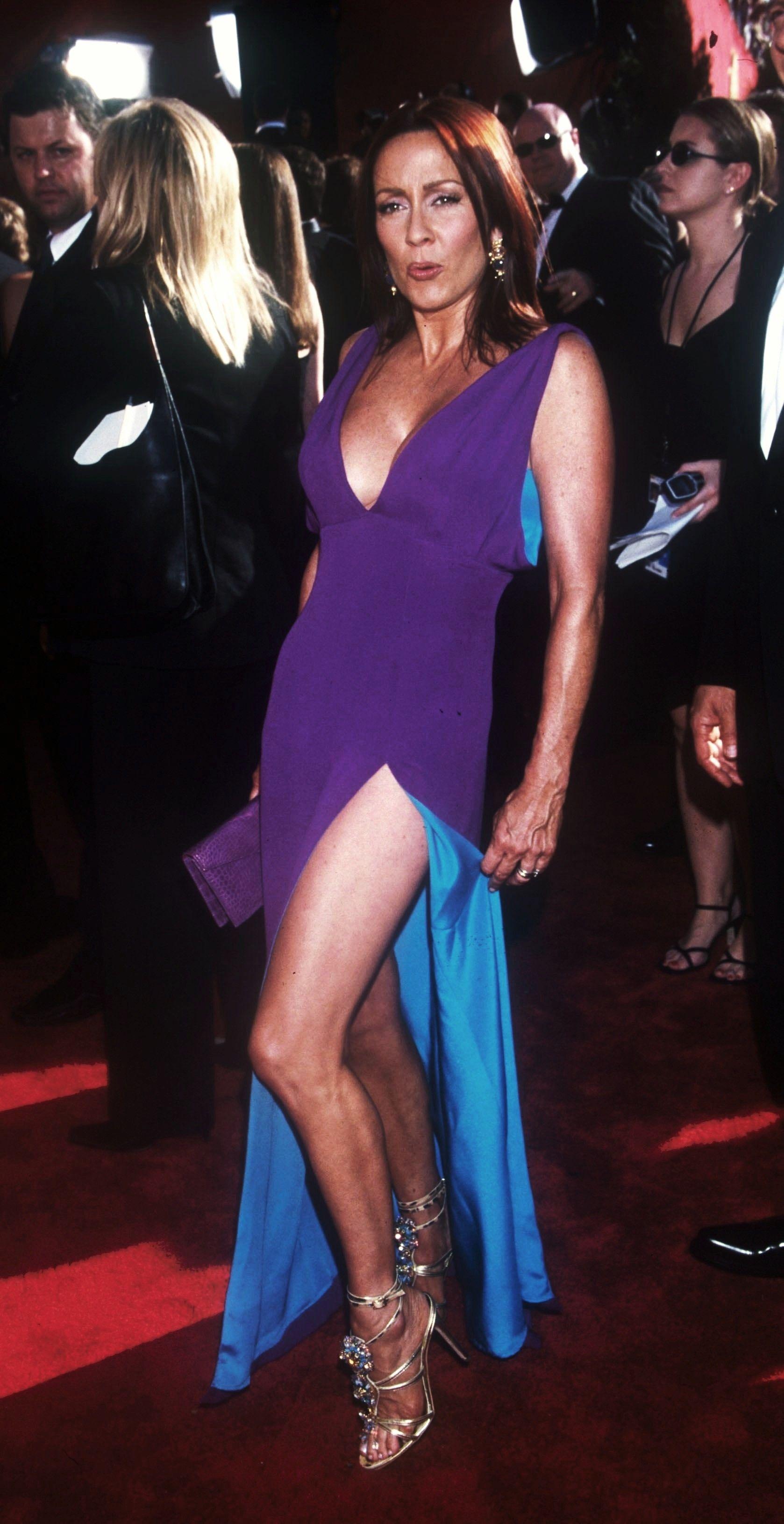 Patricia Heaton in 2019   Patricia heaton, Purple dress ...