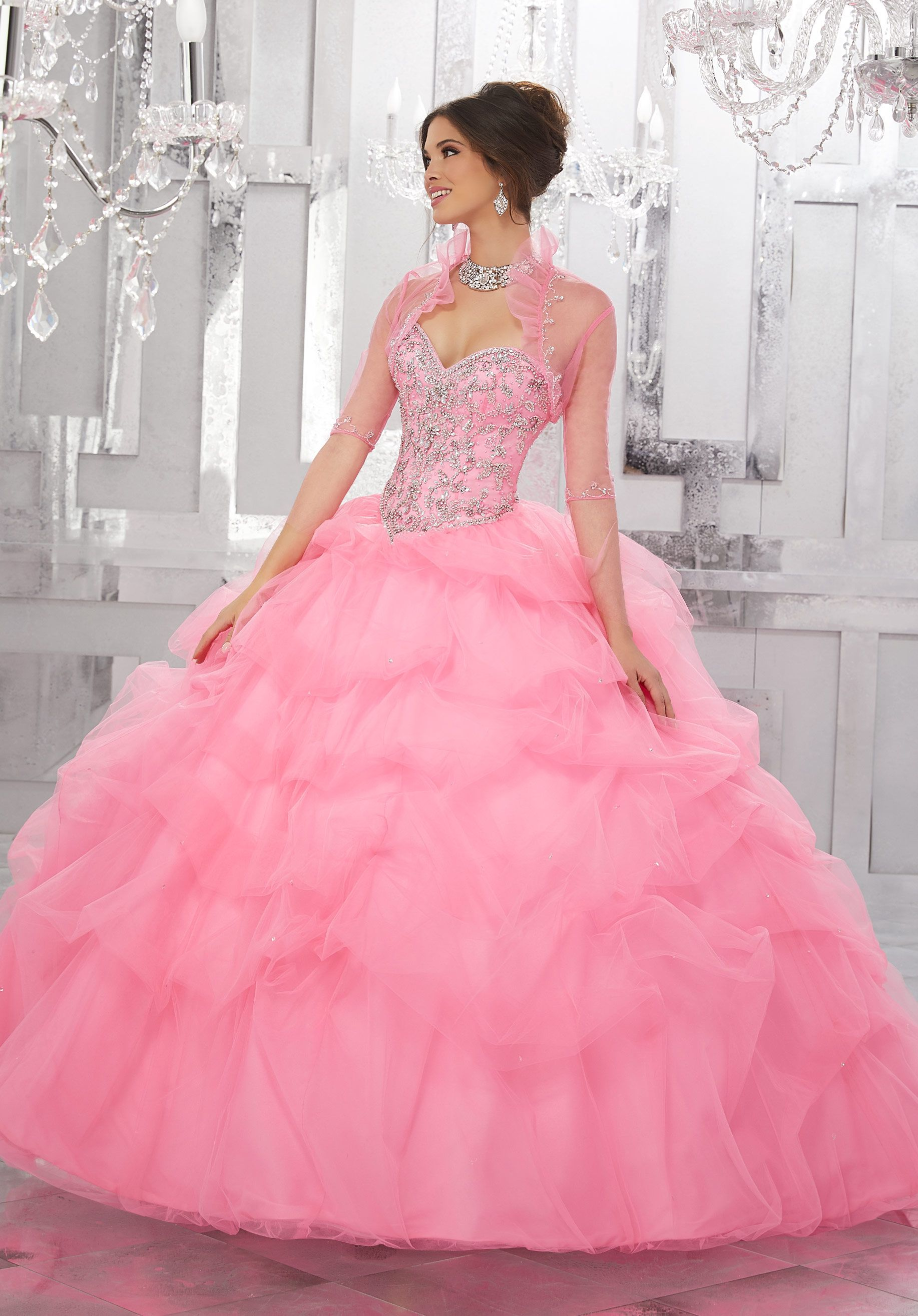 This Dreamy Tulle Quinceañera Ballgown Features a Gorgeous Gemstone ...