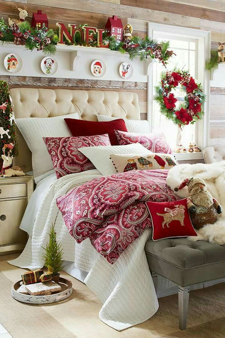 Christmas Bedroom Decorating Red White Bedding Holiday Farmhouse Traditional