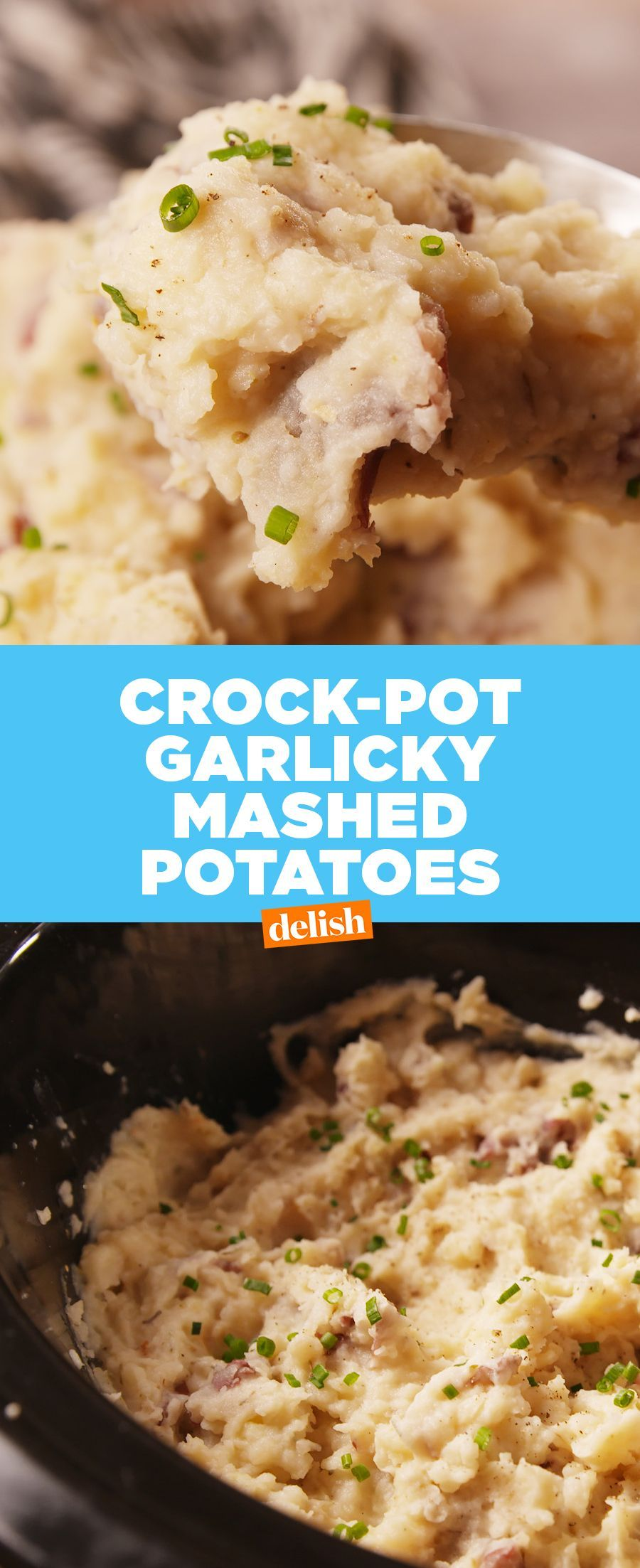 Slow-Cooker Garlicky Mashed Potatoes Are Here To Save Thanksgiving #crockpotmeals