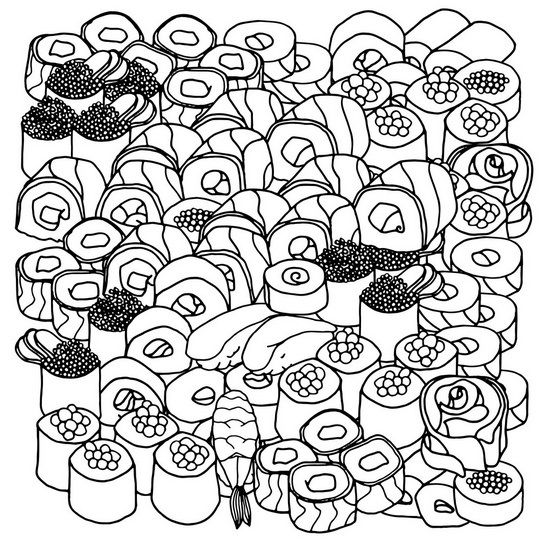 Sushi Rolls Coloring Canvas Sushi Rolls Coloring Book Art