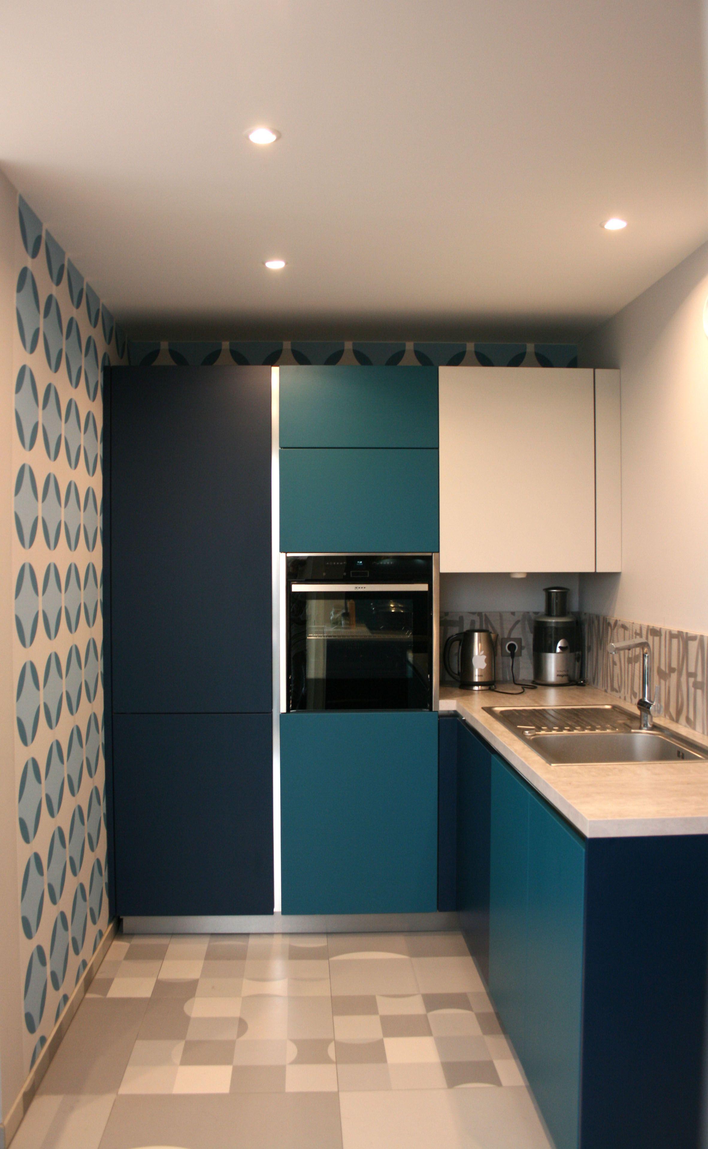 Rénovation cuisine - Bleu nocturne, Bleu canard, Gris, Papier peint ...