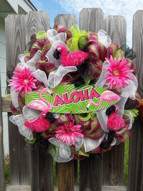 Flamingo Mesh Wreath