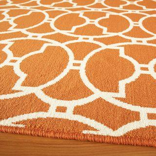 Moroccan Tile Orange Indoor/ Outdoor Rug (7'10 x 10'10) | Overstock.com Shopping - Great Deals on 7x9 - 10x14 Rugs