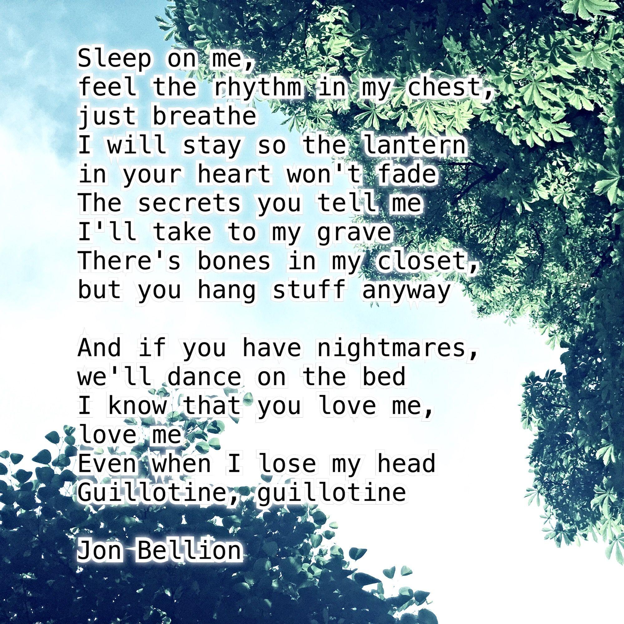 Sleep on me, feel the rhythm in my chest, just breathe I