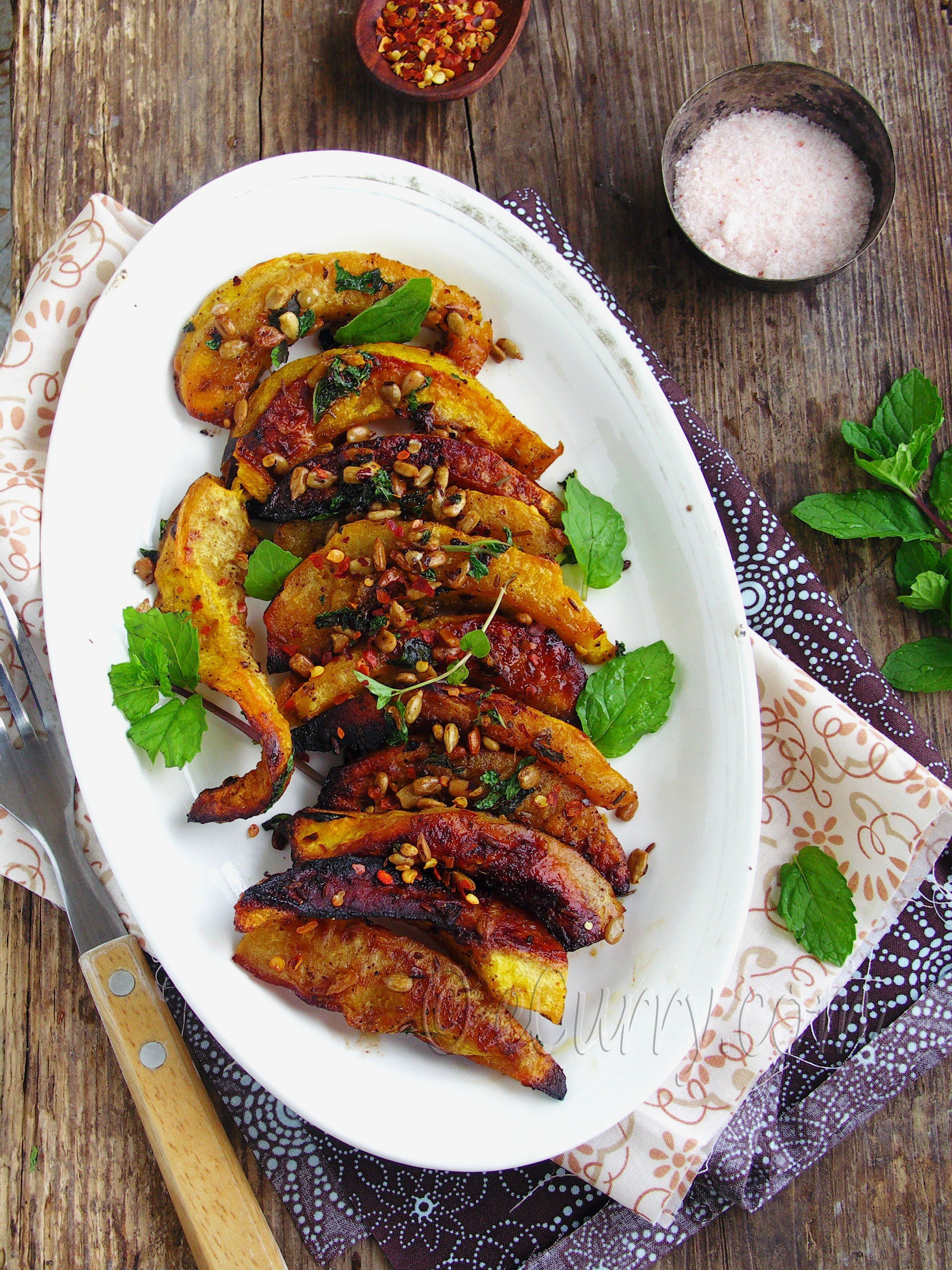 Roasted Acorn Squash With Mint Sumac And Sunflower Seeds Recipe