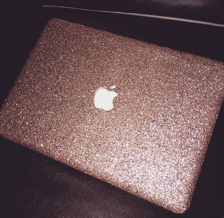 Pinterest: dopethemesz ; rose gold/copper dreams ; Glitter Macbook Case- Rose Gold