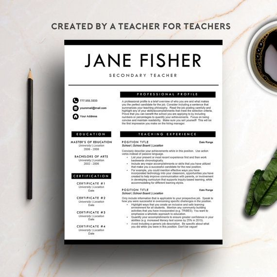 The ULTIMATE teacher resume created by a teacher! Upgrade your CV ...