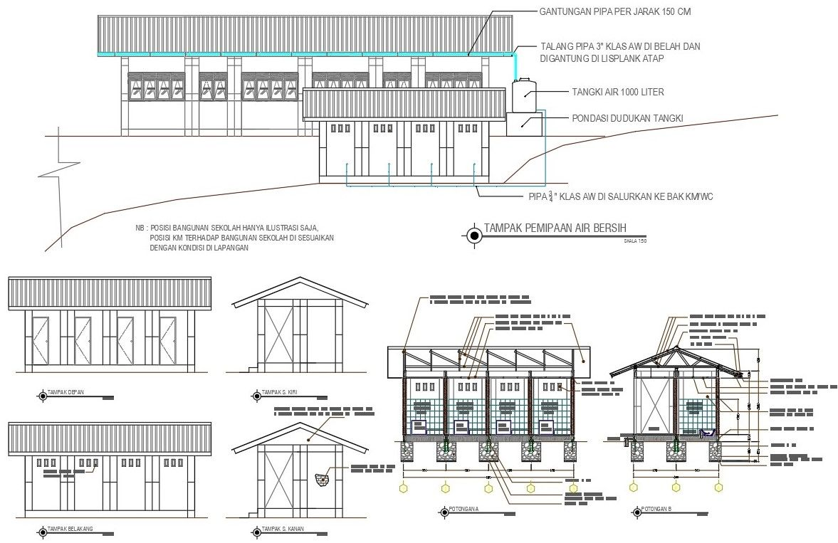 School With Toilet Building Design DWG File in 2020