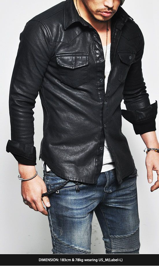 88c879c076f26b Tops    Shirts    Masculine Sexy Stretchy Leather Button Down-Shirt 109 -  Mens Fashion Clothing For An Attractive Guy Look
