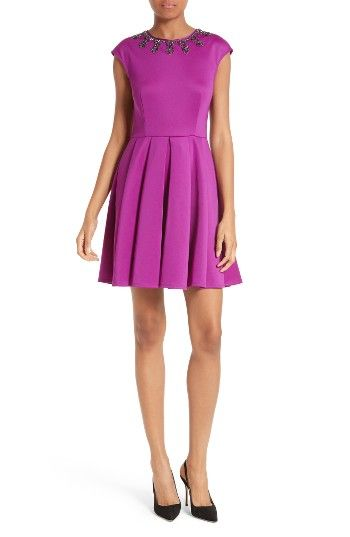 Free shipping and returns on Ted Baker London J'adore Embellished Fit & Flare Dress at Nordstrom.com. Bold, faceted rhinestones illuminate the neckline of a sweet vintage-inspired dress made from smooth, substantial stretch jersey that will keep you comfortable into the wee hours.