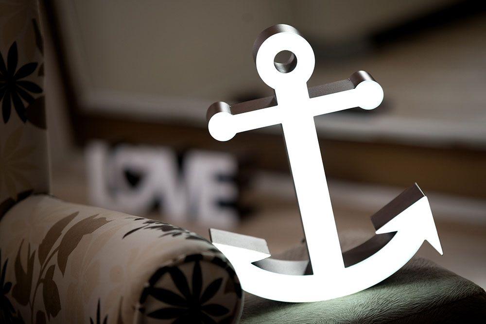 LED-Dekolampe Anker / Luminous anchor (LED). Halt, Sicherheit ...