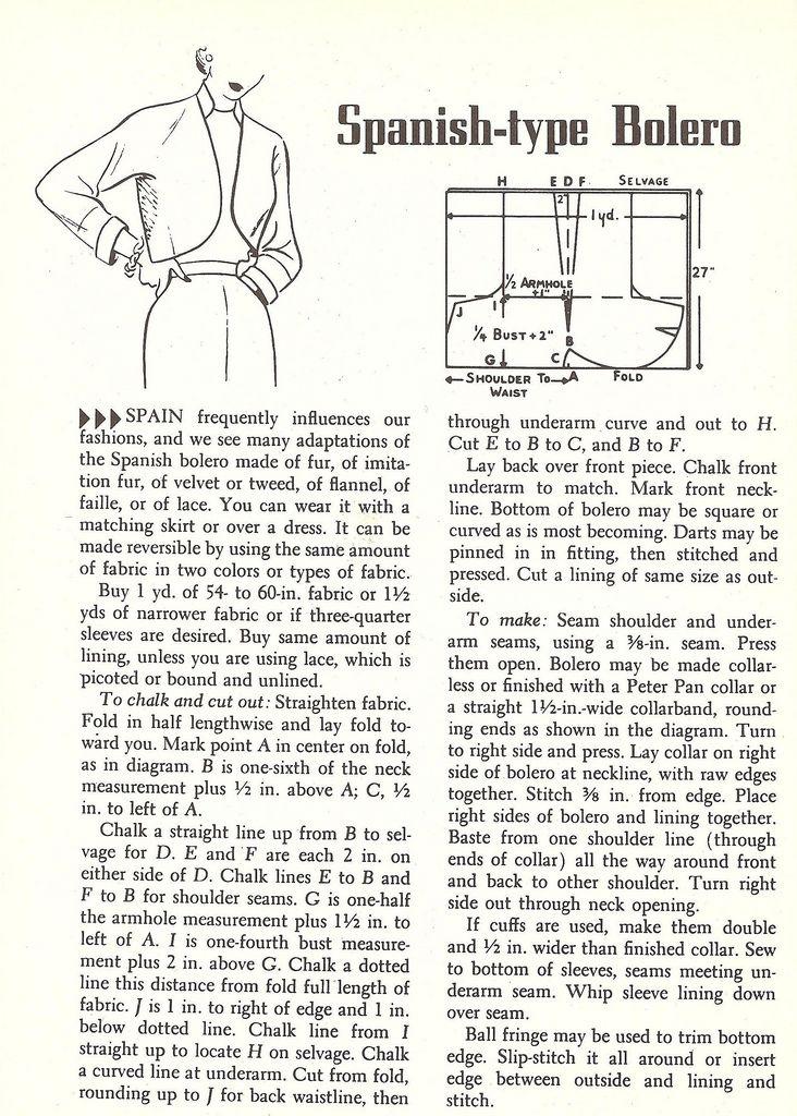 bolero | Patrones | Pinterest | Costura, Patrones de costura y Patronaje