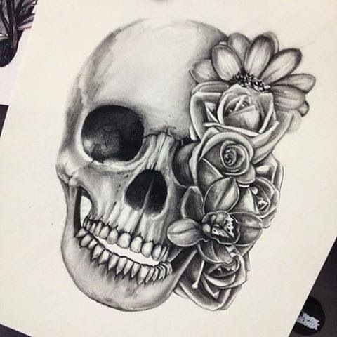 Skull and roses- love the black and gray