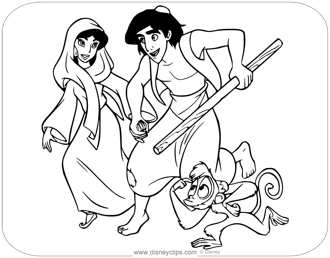 Coloring Page Of Aladdin Running With Jasmine And Abu Aladdin Jasmine Abu Disneycoloringpages Coloring Pages Aladdin Cartoon Coloring Pages