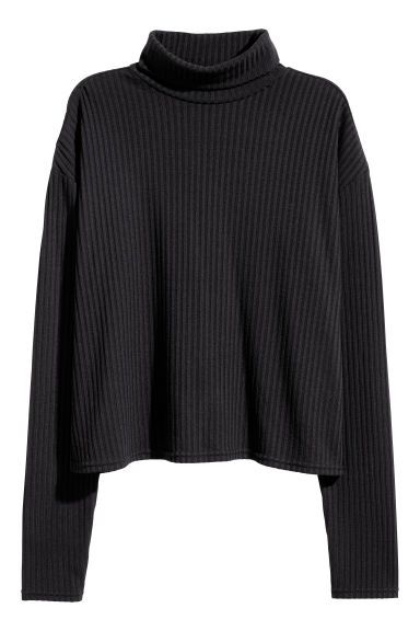 Jersey de canalé cuello alto - Negro - MUJER  ac1563b189d4