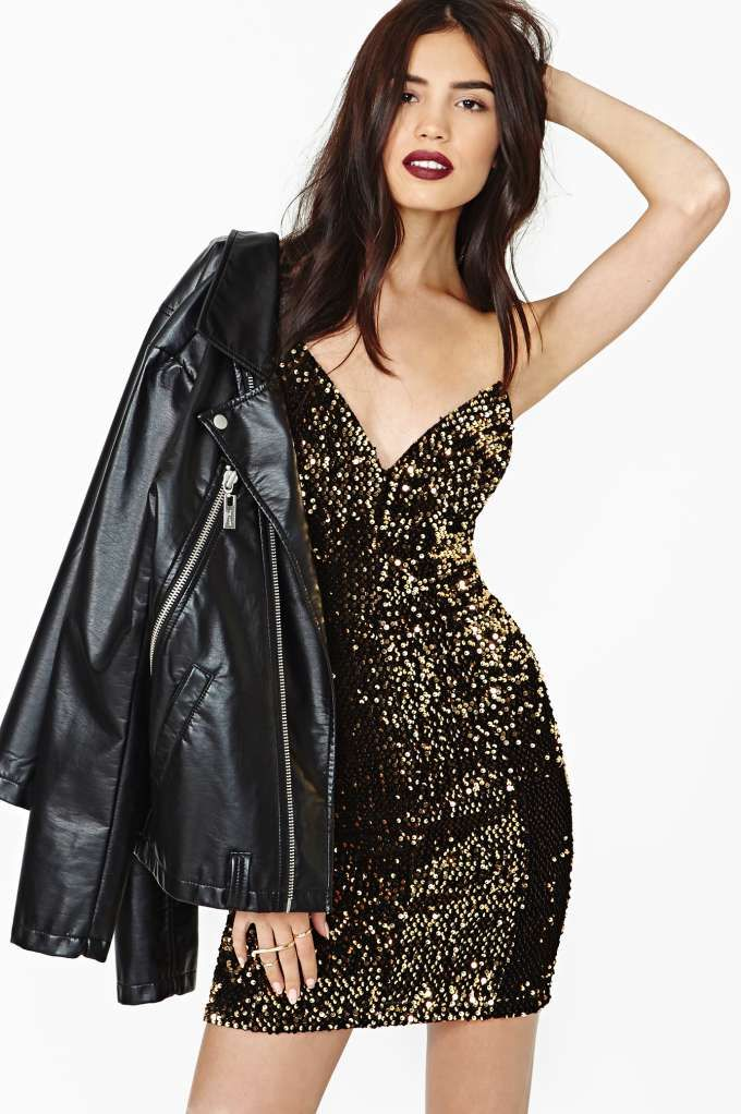 Golden Glow Sequin Dress