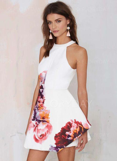 Kleider - $41.72 - Polyester Blumen Ärmellos Mini Sexy Kleider ...