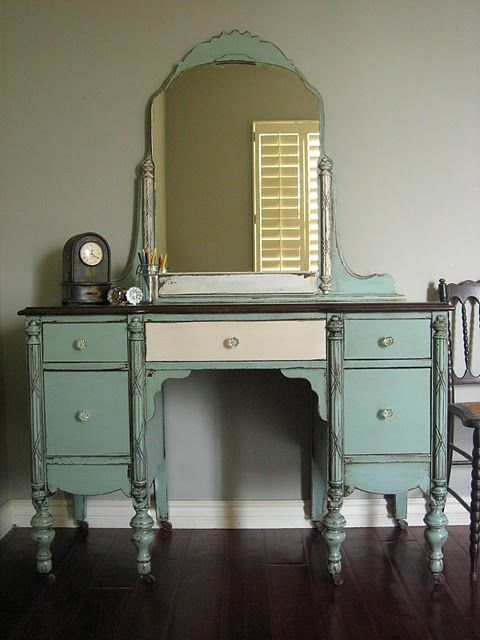 I want to find an old dresser like this for my bathroom and refinish it.