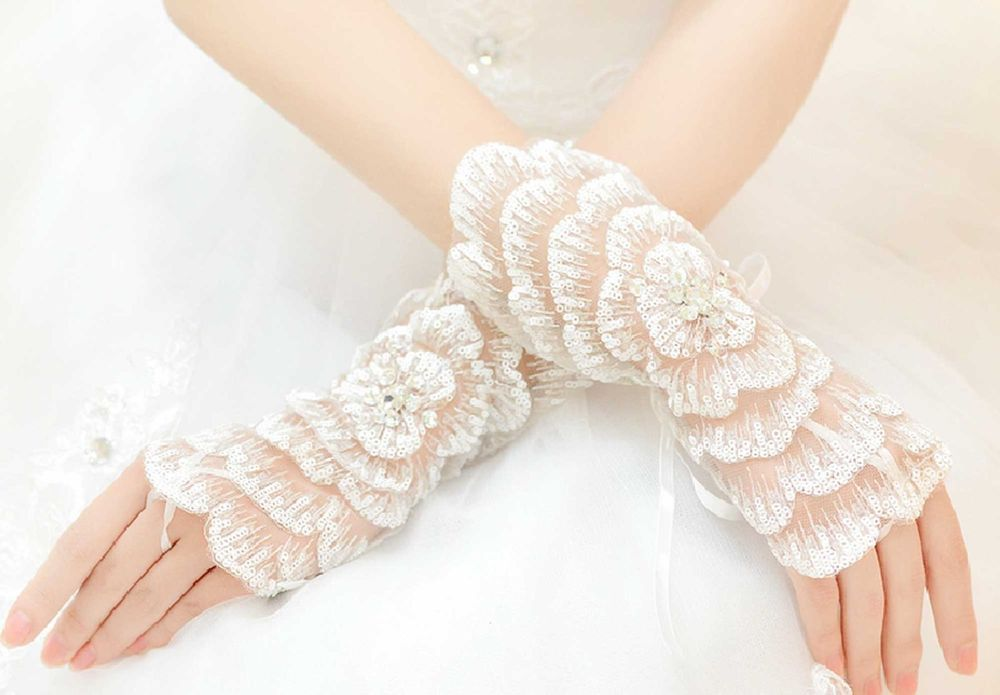 Wedding Bridal Prom Ivory Rose Flower Sequin Bride Fingerless Short Lace Gloves  #Fingerless