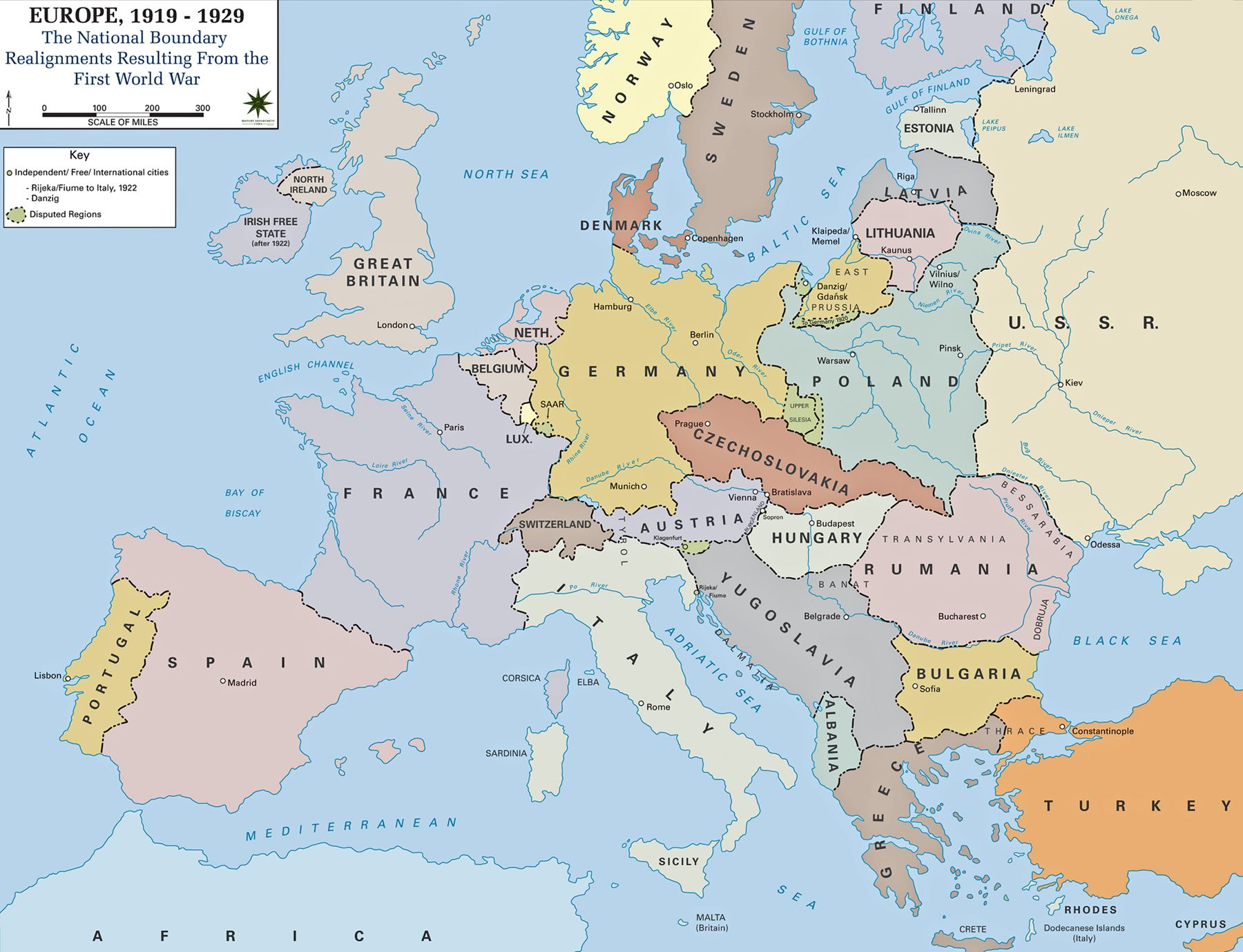 Map Of Europe 1919