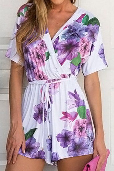 Stylish V-Neck Short Sleeve Floral Print Lace-Up Romper For Women
